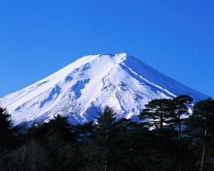 Mount Fuji Covered with Snow in December