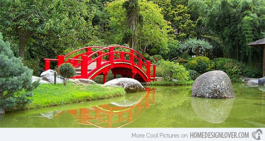 Japanese bridge in garden